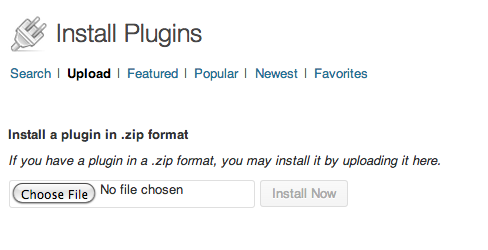 Under Install Plugins, choose the Upload option to add Plugins you've downloaded to your computer from somewhere other than WordPress. Click Choose File and Install Now to get it into your blog.