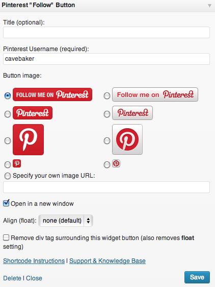 Some Widgets, like the Pinterest Follow Button, require further information and general tweaking.