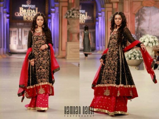 Black and Red Bridal Lehanga