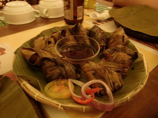 Filipino Native Food - Chicken meat wrapped in Pandan Leaves ( Pandan leaves has a nice odor & it gives flavor to the meat) - Light House Restaurant, Cebu City, Philippines