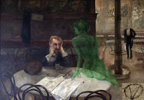 Viktor Oliva: The Absinthe Drinker. The original painting can be found in the Café Slavia in Prague.
