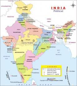India - location, area and boundaries and administrative divisions of India