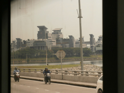 Woodlands Checkpoint viewed from Johor causeway connecting Singapore and Malaysia