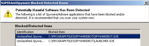 Spyware Bot Detected as Suspicious by SUPERAntiSpyware