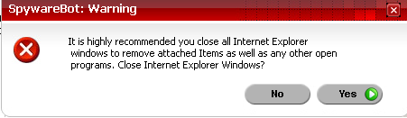 Spyware Bot doesn't like Internet Explorer