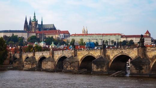 Castle and Bridge in Prague by Petr Kratochvil