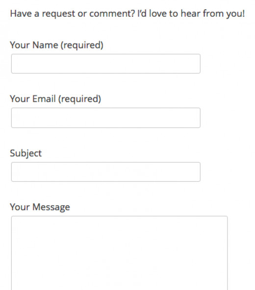 This is what the Contact Form looks like on a page of its own.