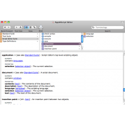 An AppleScript Editor Dictionary Window