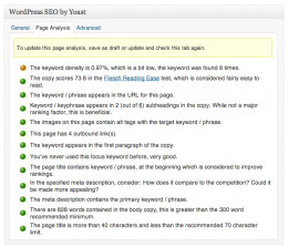 The WordPress SEO page analysis is straightforward and easy to understand.