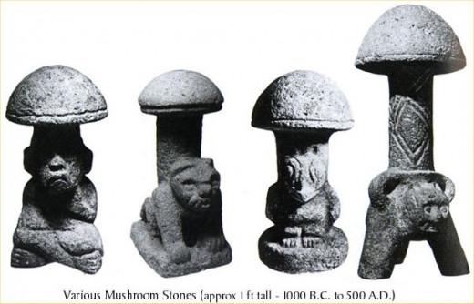 Mayan mushroom stones.  (1000 B.C. - 500 A.D.)