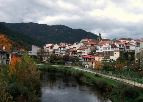 View of Ribadavia across the river in autumn