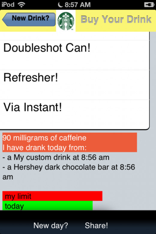 Teen Caffeine Monitor app, available for download for all major smartphones and tablets.