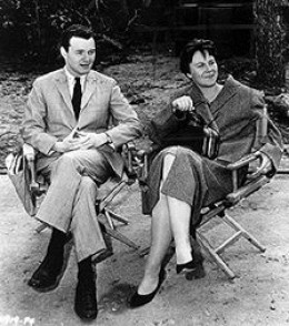 Harper Lee on the set with producer Alan J. Pakula of the filming of her novel.