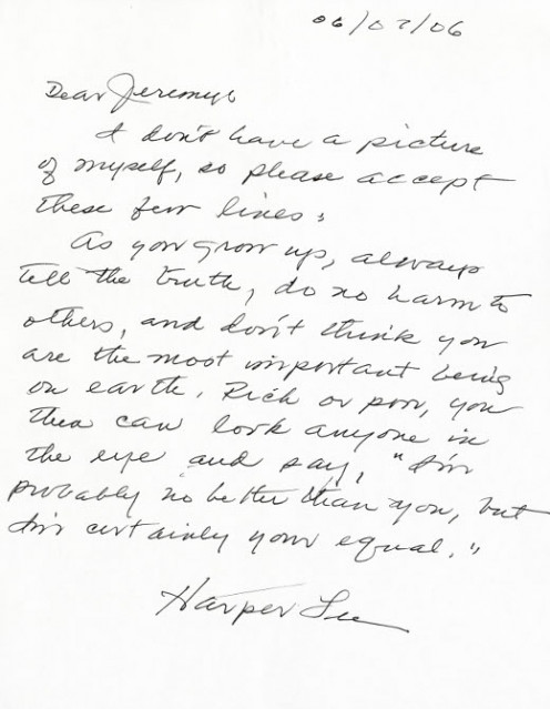 Click the source link for the full transcript of this letter to a young fan by Harper Lee!