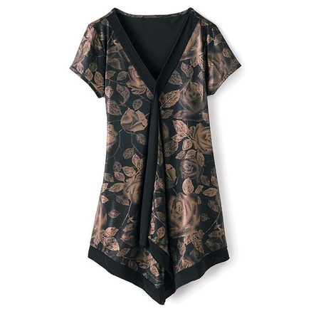 v-neck, tunic length blouse -- loosely fitted with a generous cut for comfort