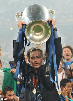 Jose Mourinho after winning the 2010 UEFA Champions League with Internazionale