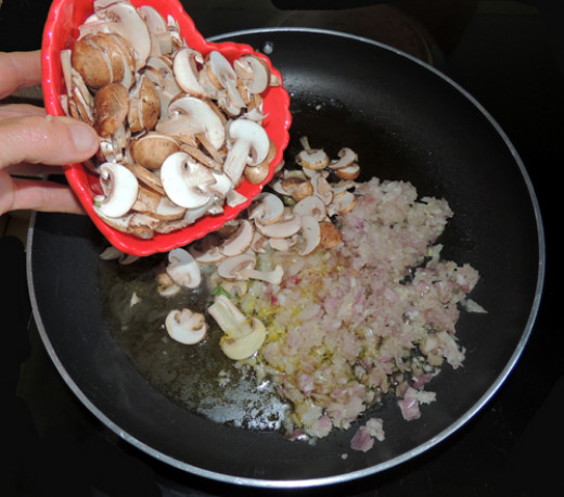 add mushrooms at the same time, and blend together