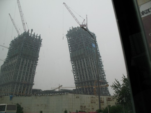 Modern slanted buildings under construction in Beijing