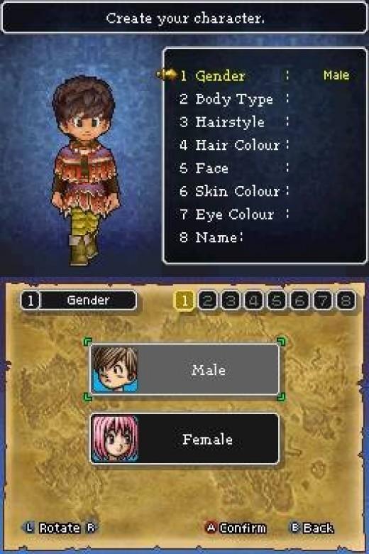 Character creation.