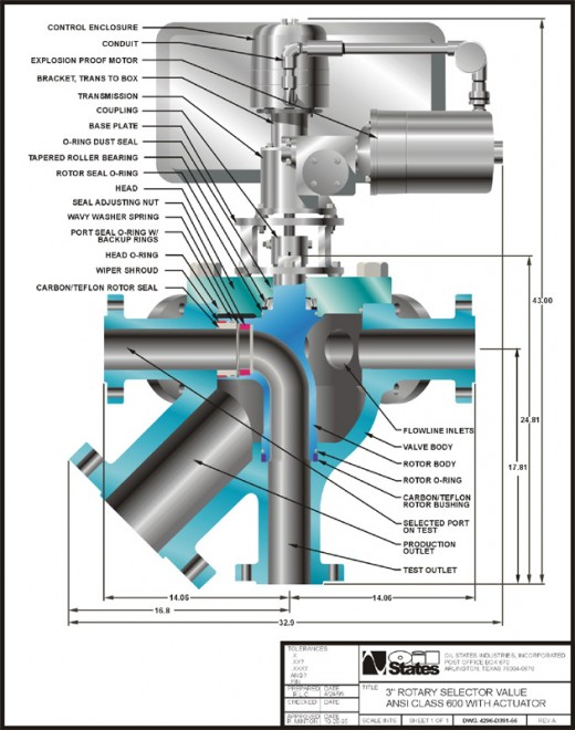 Valve for Oil Well for Oil States done in Coreldraw