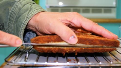 Slicing Hot Milk Cake.