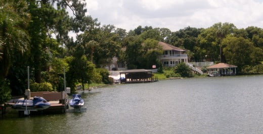 City Beautiful, Orlando Florida. Downtown Lake Ivanhoe area where many wealthy and upper middle class people live in lakefront homes. They enjoy a peaceful life in one of Florida's best neighborhoods.