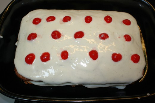 Ice Box Cake Made With Hot Milk Cake.