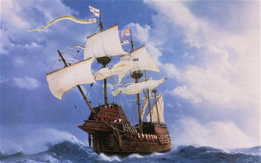 Painting the Mary Rose under sail.