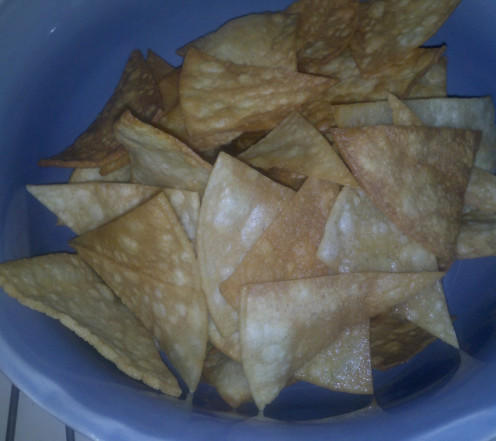 Fresh corn tortilla chips; no salt. Fried in peanut oil.