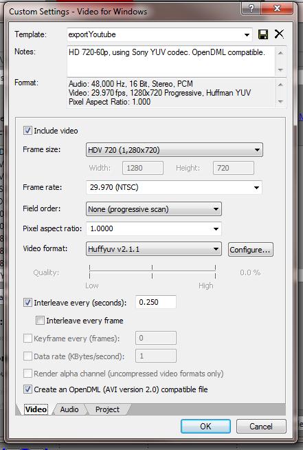 Lossless Avi export settings for Sony Vegas.