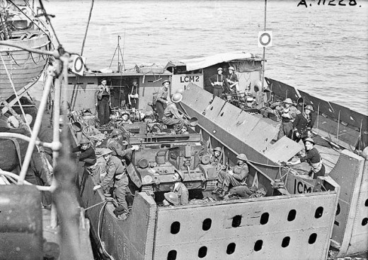 Canadian troops in a large landing craft