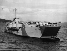 Large landing craft with welded shut ramp and heavy anti aircraft guns