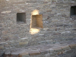 Casa Rinconada  in New Mexico at sunrise on the summer solstice  as the sun's light touches the niche in the wall.