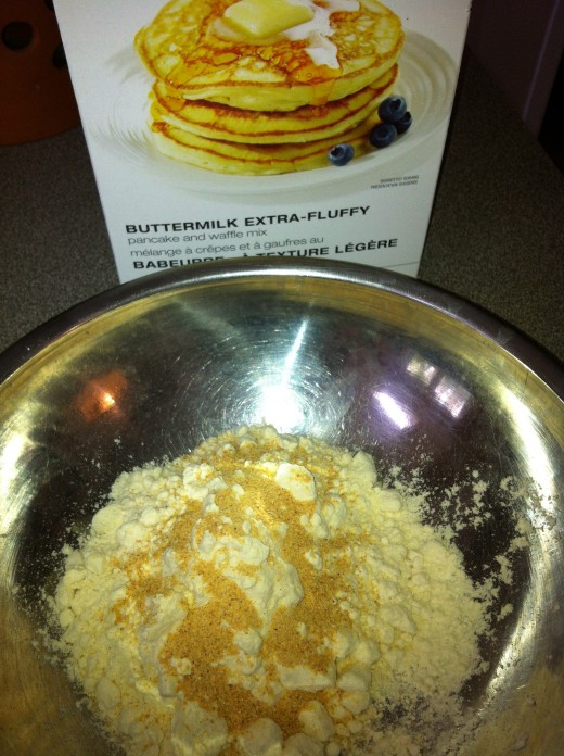 Whisk the seasonings into the pancake mix powder.