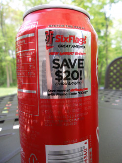 Save at Six Flags Great America when you present a can of Coca-Cola at the ticket booths. Save $ September October 10, October 31 and November Save $ October