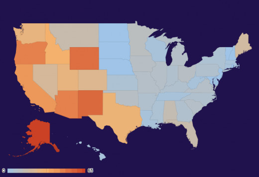 US state UFO intensity map for March 2013.