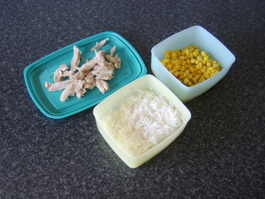 Leftover roast pork, boiled rice and sweetcorn with peppers