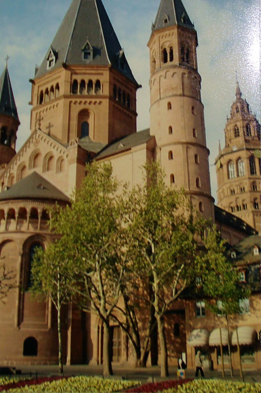 The Cathedral in Mainz, Germany. It is Opposite the Gutenberg Museum.