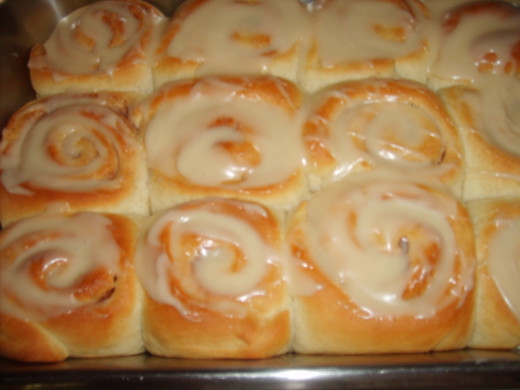 Right out of the oven, with a glaze type icing