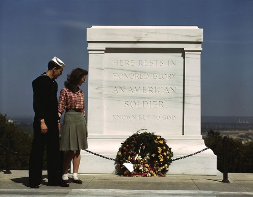 Visitors in May 1943. The WWI tomb of the Unknown Soldier was completed in 1922, after four unknown American GIs were returned from cemeteries in France.