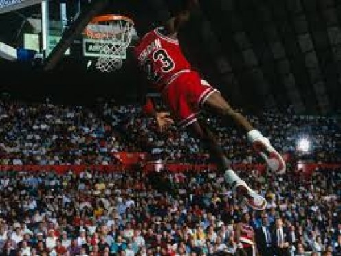 Jordan made the slam dunk look easy as he seamlessly soared the air. Michael Jordan also won a slam dunk contest.