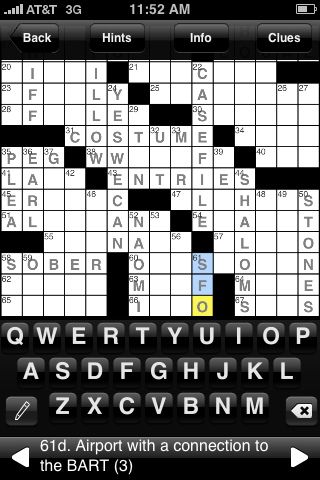 Solving a crossword puzzle in a iPhone app