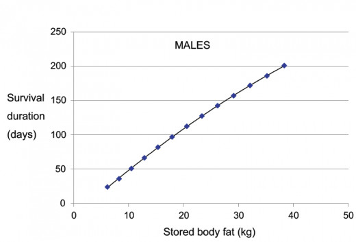 Starvation Survival Rates fof Males of various Weights