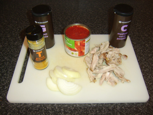 Ingredients for bhuna spiced leftover pork