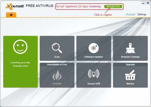 Registering Avast Free Antivirus