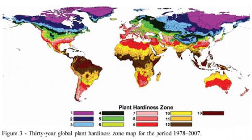 Hardiness zones across the world