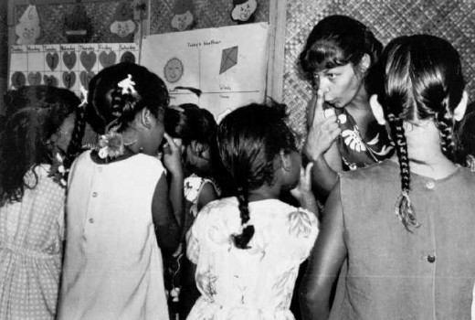 An American teaching English to children in the US Marshall Islands.