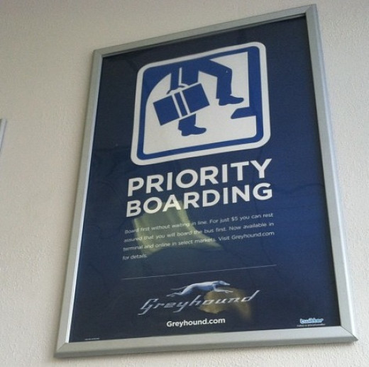 Signage about some of the rules on Greyhound.