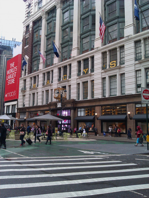 The flagship Macy's is located on 34th Street and Broadway, in Herald Square, and takes up most of that city block.