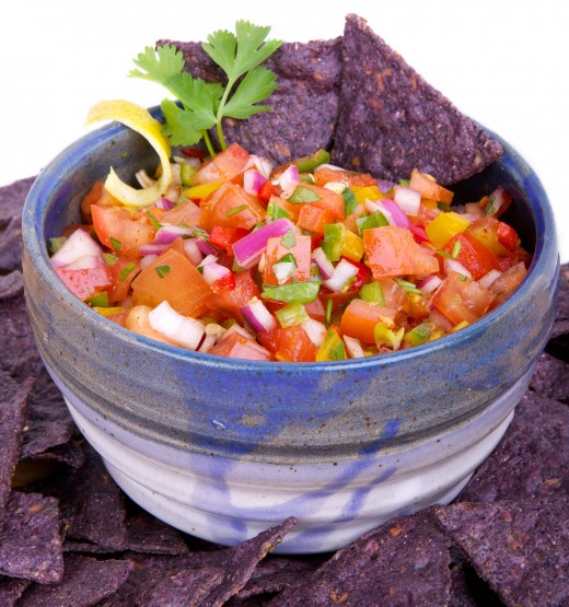 Colorful and fresh salsa;  a perfect combination of savory, sweet, tangy, and spicy.